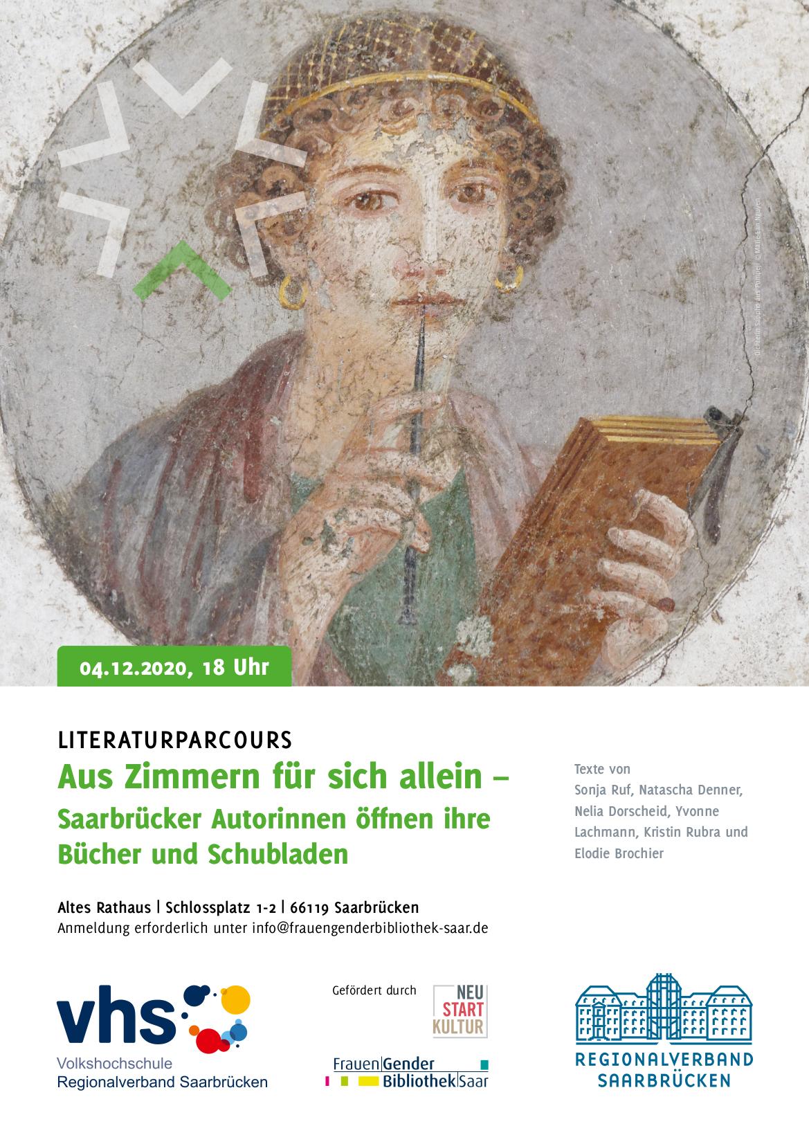 Literaturparcours mit Saarbrücker Autorinnen auf April 2021 verschoben