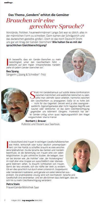 Geschlechtergerechte Sprache: FGBS-Mitarbeiterin Petra Stein im TOP Magazin Saarland