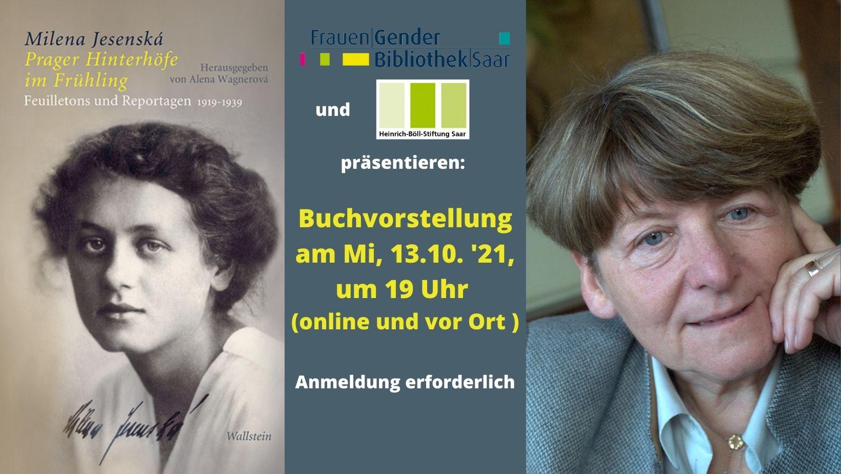 """""""Milena Jesenská. Feuilletons und Reportagen 1919-1939"""" von Alena Wagnerová am Mittwoch, 13. Oktober 2021, um 19:00 Uhr"""