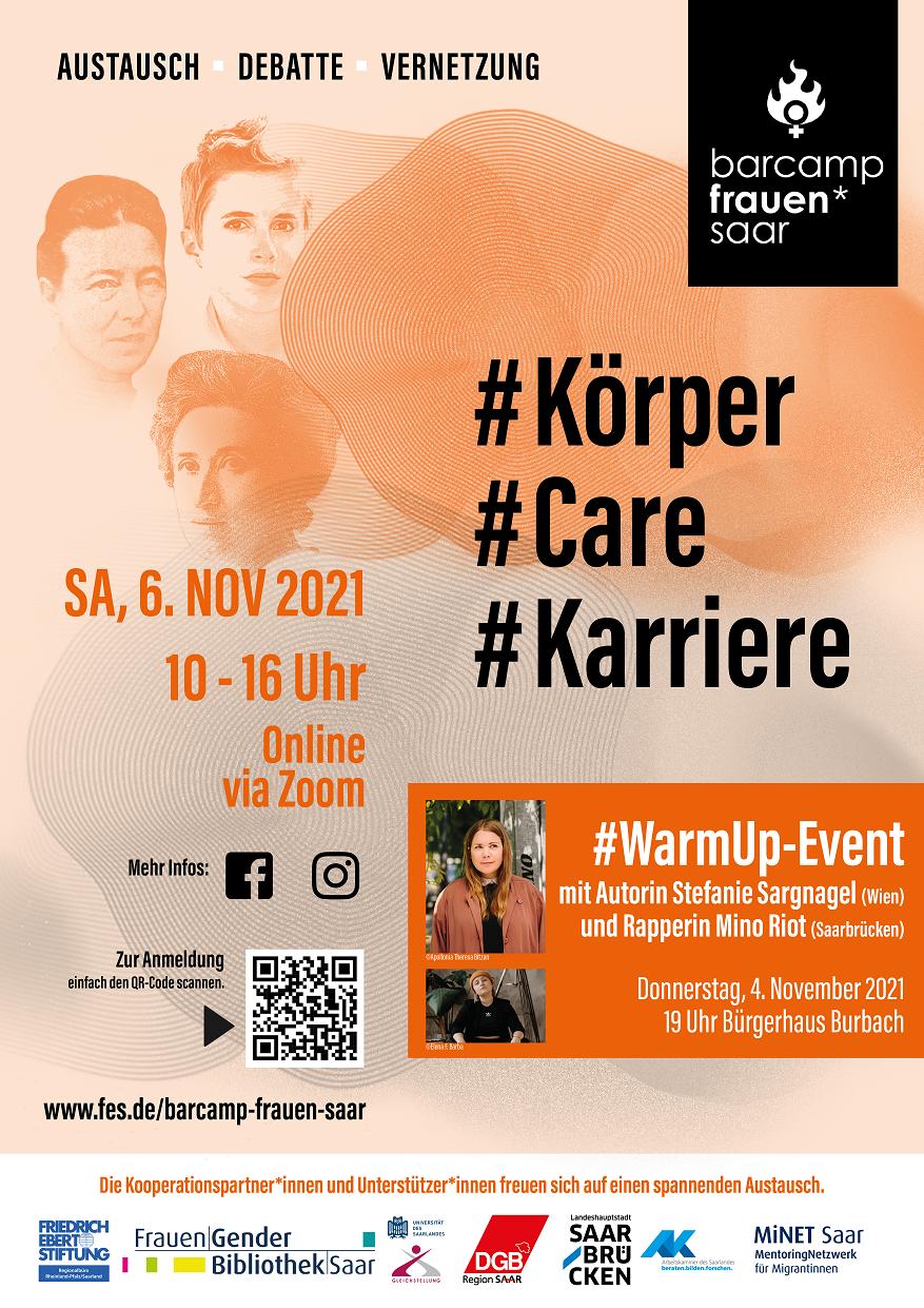 Barcamp Frauen* Saar 2021 am 6. November plus Warmup-Event mit Stefanie Sargnagel am 4. November